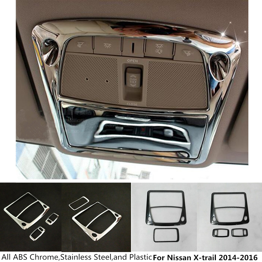 For Nissan X-trail xtrail T32/Rogue 2014 2015 2016 ABS chrome front inner rear tail read reading switch light lamp frame trim abs chrome door stereo speaker ring cover fit for x trail rogue xtrail t32 2014 2015 speaker decoration trim accessories