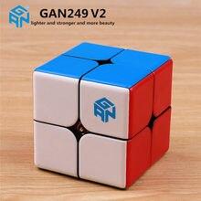 Gan249 2x2 magic speed gan cube stickerless gan 249 v2m quebra cabeça bolso cubo colorido gans brinquedos para crianças