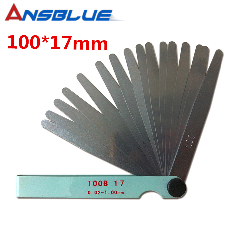 17 Blades Spark Plug Thickness Gap Metric Filler Feeler Gauge Metric Measurement 0.02 to 1mm Steel Measuring Tools 100mm17 Blades Spark Plug Thickness Gap Metric Filler Feeler Gauge Metric Measurement 0.02 to 1mm Steel Measuring Tools 100mm