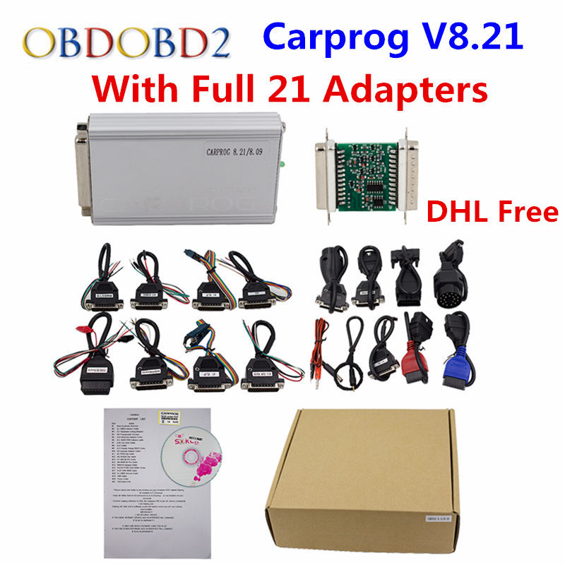 DHL Free Auto Repair Tool CARPROG V10.05 Or V8.21 Online Version Programmer 74hc125 Chip Car Prog With 21 Adapters free shipping carprog 9 31 ecu chip tunning car prog v9 31 carprog full newest version with all 21 items adapters