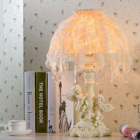 Mediterranean white table lamp Princess Room bedside lace fabric night light resin lighting beauty desk lamps ZA91170
