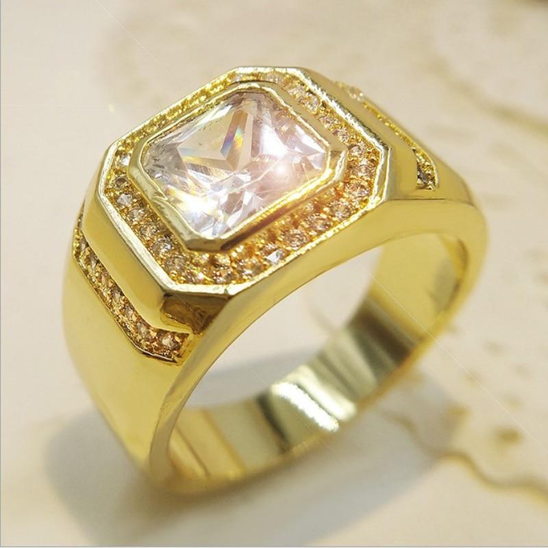Luxury Engagement Ring Zirconia Gold Wedding Rings For Men ...