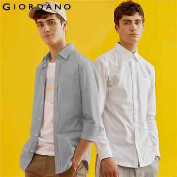 Giordano Men Shirt Long Sleeve Casual Shirts 2-Pack Cotton-Poly Shirts For Men Slim Fit Camisa Masculina White Blusa Shirt - DISCOUNT ITEM  49% OFF All Category