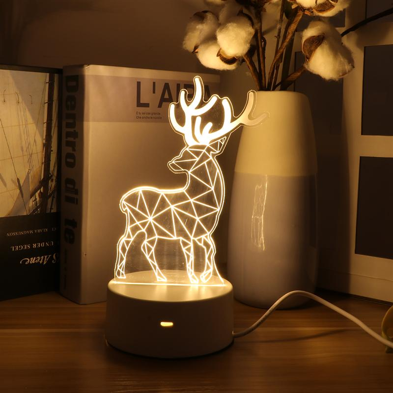 3D LED Sika Deer Night Light Christmas Gift Table Decorative Lamp For Bedroom Kids Room (USB Button Monochrome, Warm Light)