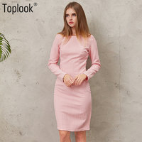Toplook Pink Jacquard Vintage Womens Dress Winter Dresses Women 2017 Solid Long Sleeve Vestidos Knee Length