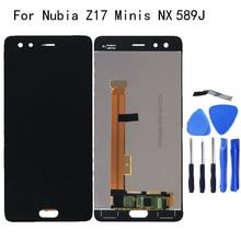 """5.2 """"ل zte nubia Z17 البسيطة S NX589J LCD الكريستال السائل عرض المحول الرقمي ل إصلاح أجزاء من Z17 الثياب NX589H عرض"""
