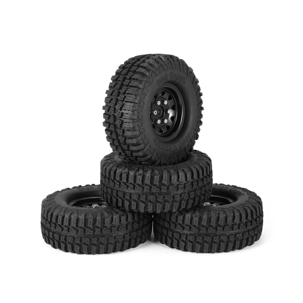 4Pcs 1.9 Inch 100mm Rubber Tires RC Crawler Car Part Tire with Metal Wheel Rim Set for 1/10 Traxxas TRX-4 SCX10 RC4 D90 4pcs 1 9 inch rubber tires