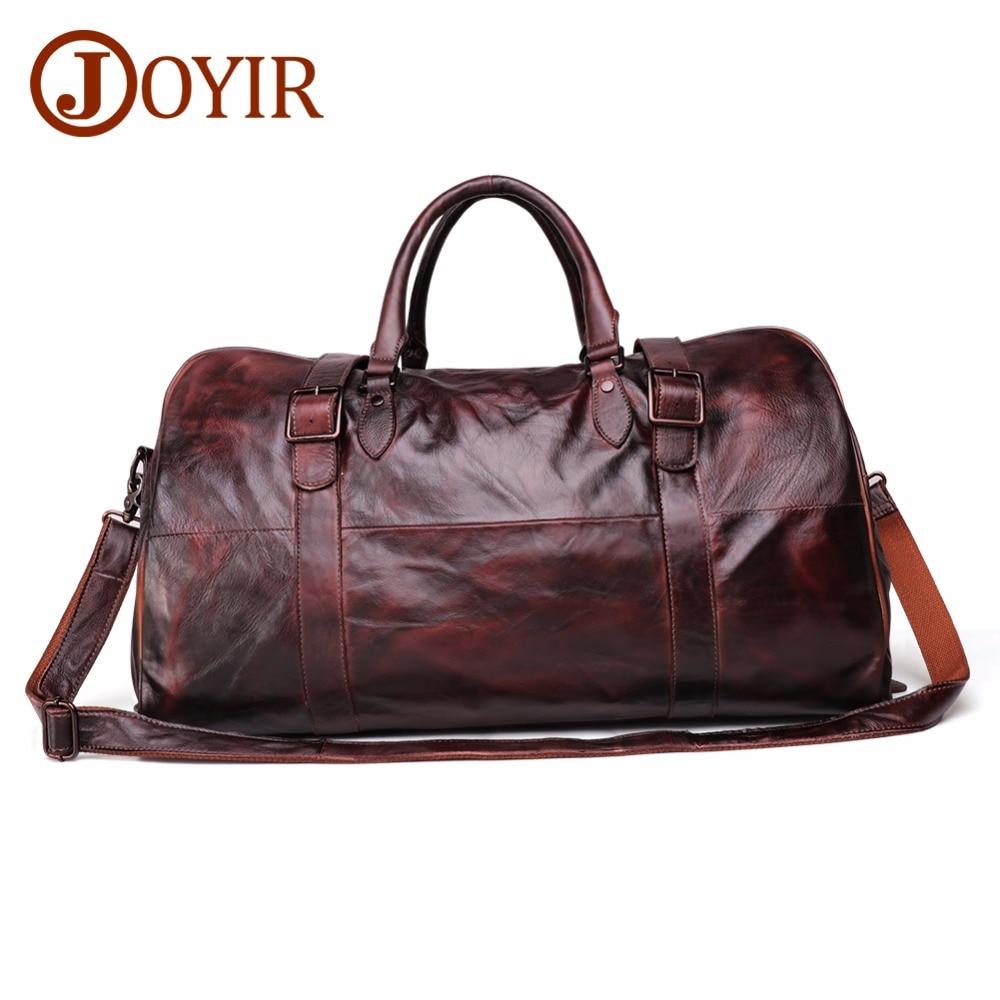 JOYIR Men's Handbag Travel Bag Genuine Leather Men Duffel Bag Luggage Travel Bag Large Capacity Leather Duffle Bag Weekend Tote