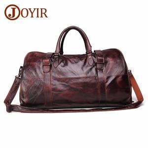 Image 1 - JOYIR erkek çanta seyahat çantası hakiki deri erkekler Duffel çanta bagaj seyahat çantası büyük kapasiteli deri silindir çanta haftasonu Tote