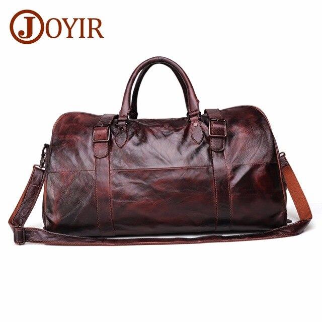 JOYIR erkek çanta seyahat çantası hakiki deri erkekler Duffel çanta bagaj seyahat çantası büyük kapasiteli deri silindir çanta haftasonu Tote