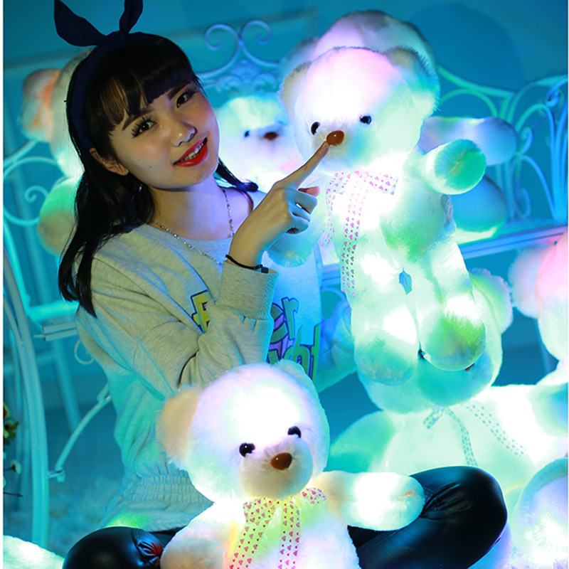 Tatalia 35cm Light Up LED Teddy Bear Stuffed Animals Plush Doll Toy Flash Colorful Glowing Teddy Bear Christmas Gift for Kids large cute cartoon animals bear panda doll bear hug colorful led flashing light led plush toy for kids children gift