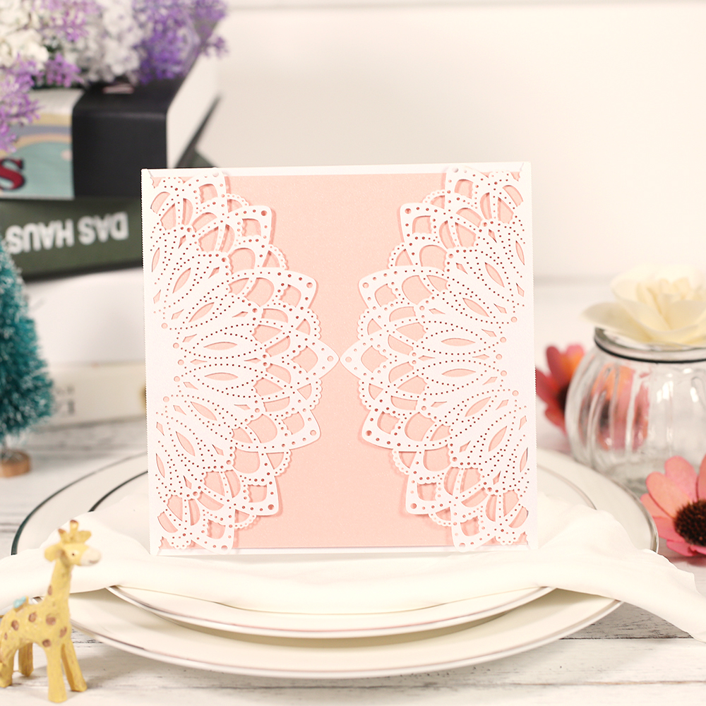 10pcs Laser Cut Wedding Invitation Cards Set with Envelope Inner Sheet Delicate Carved Flower Wedding Card Bridal BirthdayParty 1 design laser cut white elegant pattern west cowboy style vintage wedding invitations card kit blank paper printing invitation