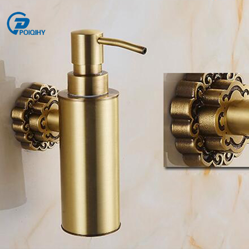 Us 38 0 40 Off Poiqihy Liquid Soap Dispenser Wall Mounted Carving Antique Bronze Finish Br Material Bathroom Accessories In