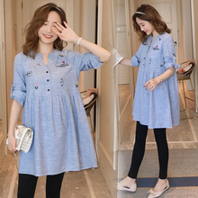 1915# Patchwork Cotton Maternity Blouse Rolled Up Sleeve Spring Summer Fashion Shirt Clothes for Pregnant Women Pregnancy Tops
