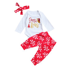2017 Xmas Toddler Infant Kids Baby Boy Girl Santa Full Sleeve Bodysuit Top Triangle Pant Leggings Outfit Casual Novelty 3pcs Set