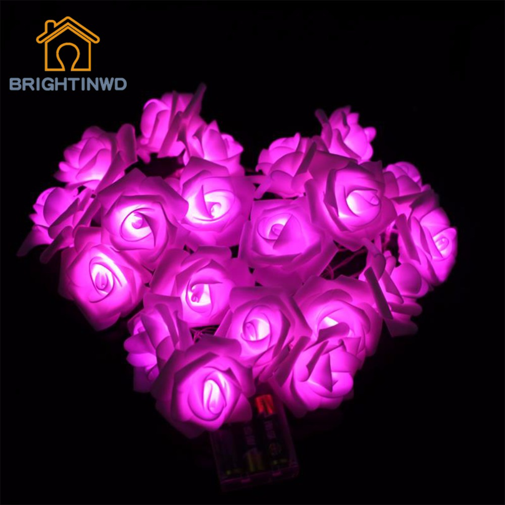 20 LED Battery Operated Rose Flower Fairy String Lights for Valentine Wedding Garden Christmas Indoor Decoration