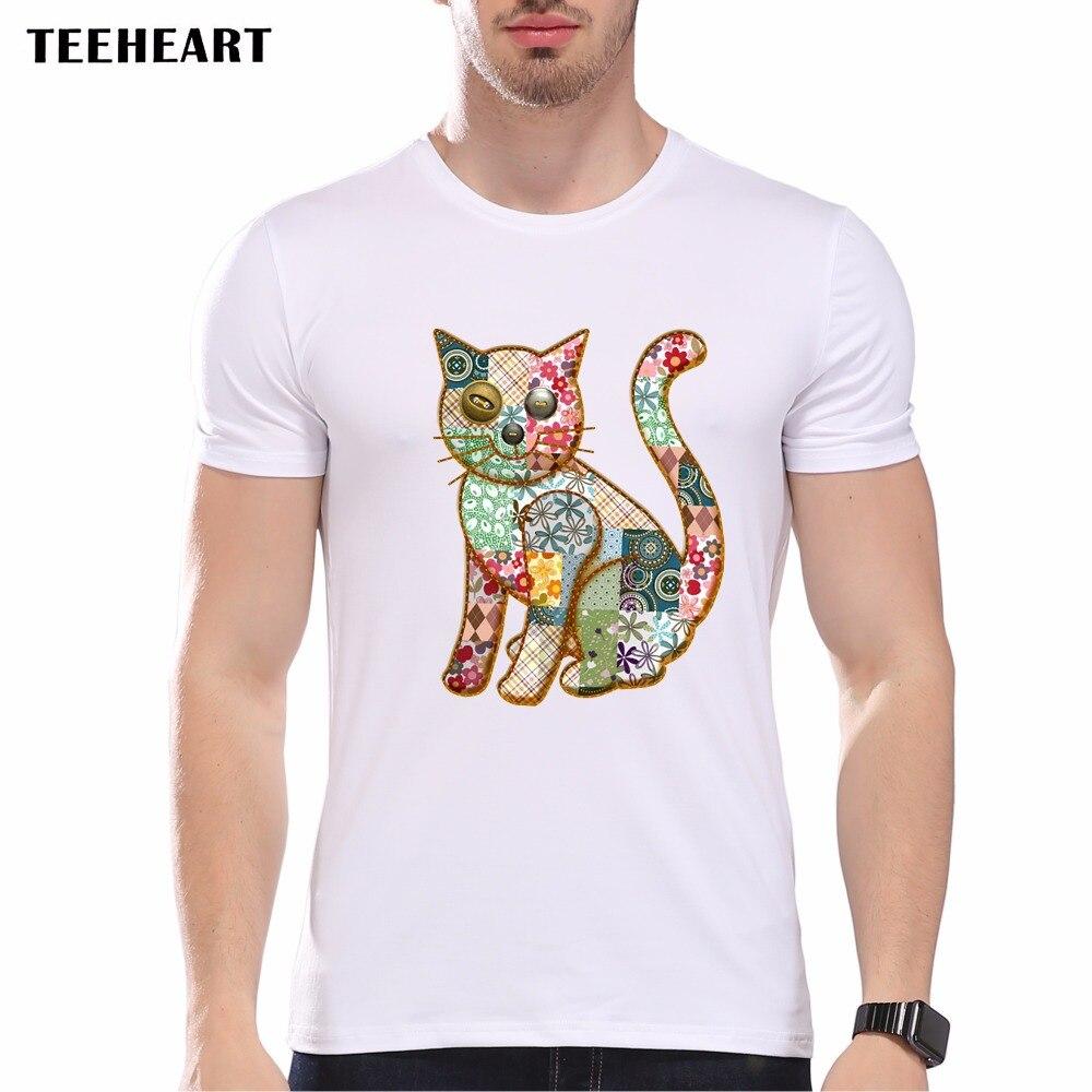 TEEHEART Moda Patchwork Projeto Do Gato camiseta Legal dos homens Tops de  Manga Curta Marca Hipster Anime Tees pb256 faeaacaaf4