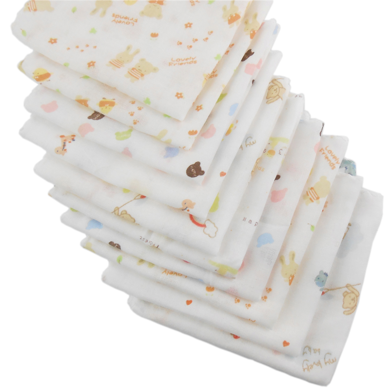 5pcs 100% Cotton Gauze Newborn Baby Infant Cartoon Face Hand Bathing Towel Bibs 31*31cm Feeding Square Towels Handkerchief