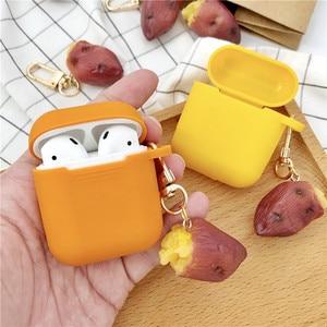 Image 2 - Yeni sevimli tatlı patates dekoratif silikon kılıf Apple Airpods için kılıf aksesuarları koruyucu kapak Bluetooth kulaklık anahtarlık