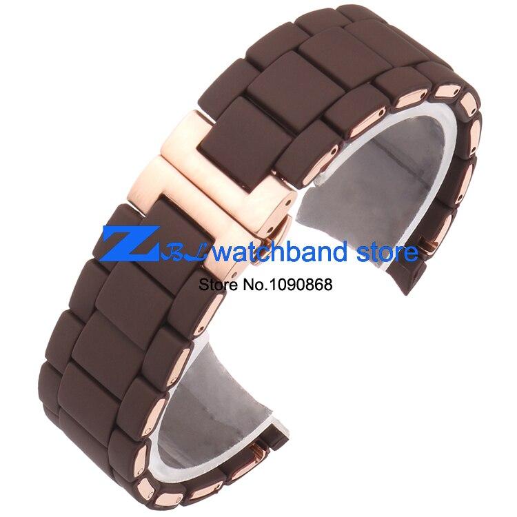 Kauçuk kordonlu Saat Çelik kahverengi silika jel adam 23mm kadın - Saat Aksesuarları - Fotoğraf 2