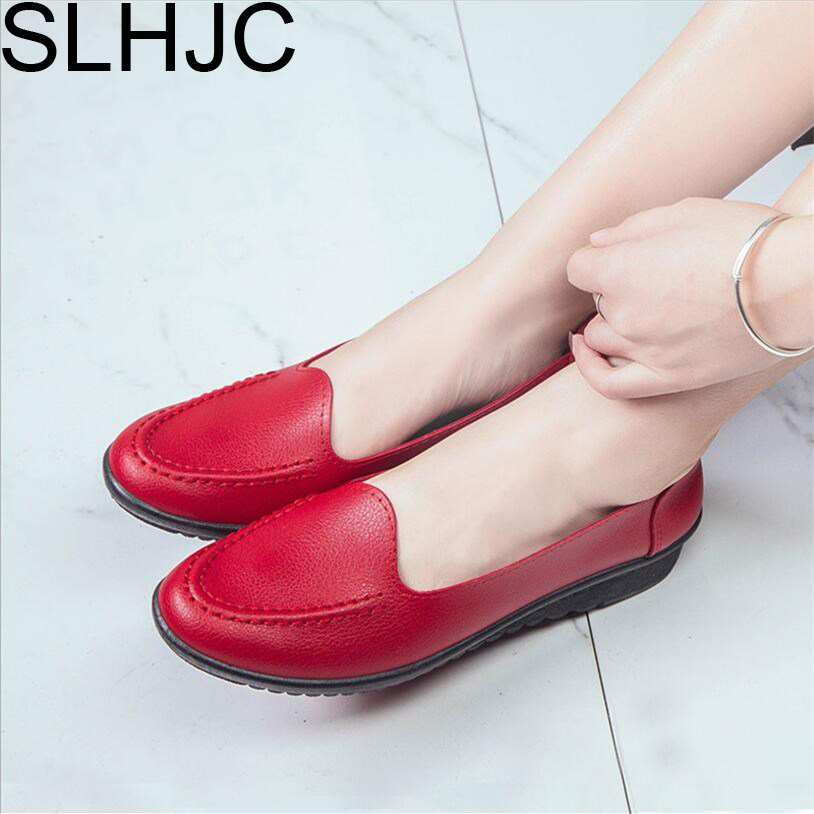 SLHJC Leather Flats Shoes Women 2018 Spring Summer Flat Heel Slip Resistance Mother Shopping Walking Work Shoes Loafers slhjc 2017 summer flats cool sandals flat heel pointed toe cutout jelly shoes durable wear sandals beach travel shopping shoes