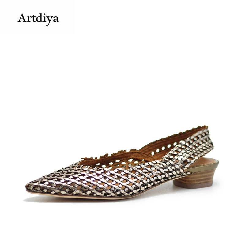 Artdiya Original Retro Genuine Leather Handmade Woven Women Sandals Hollow-out Low Heels Pointed Toe Rome Sandals 249-8 fashionable women s sandals with platform and hollow out design