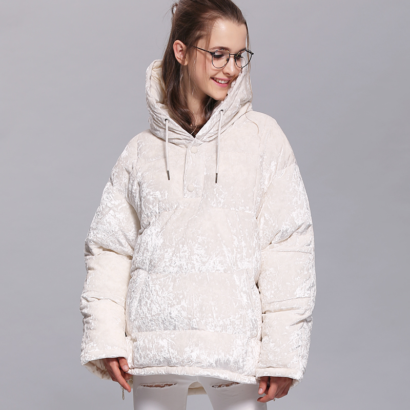 Women Down Jacket 2017 White Duck Down Hooded Cloak Poncho Cape With 2 <font><b>Gloves</b></font> Flannel Thick Long Sleeve Hoodie Down Coat AS8004