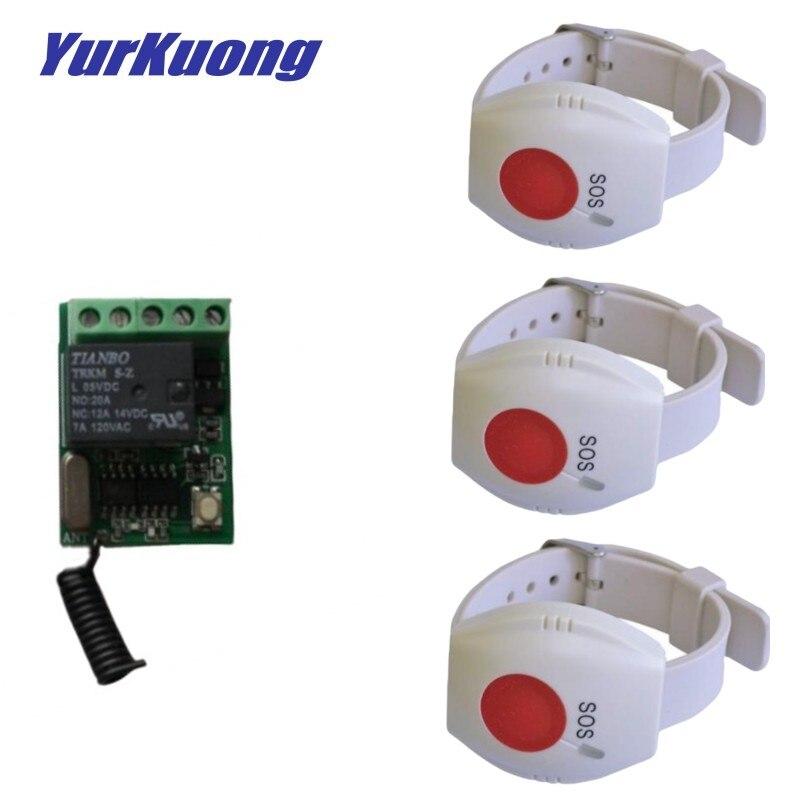 Montre-bracelet RF type de montre bouton dappel porte cloche commutateur à distance sans fil accès porte ouvre-porte commutateur à distance SOS bouton durgence