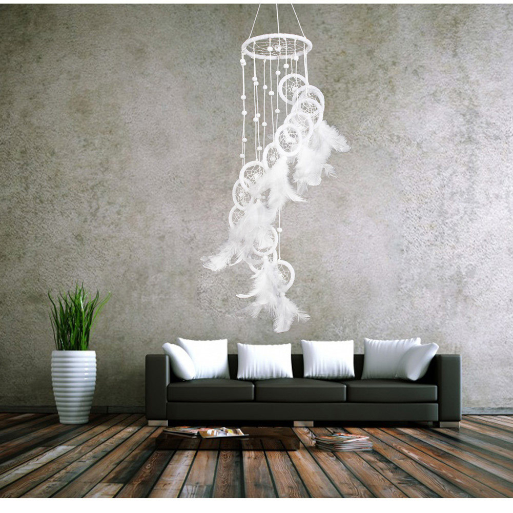 White Polycyclic Dream Catcher With Feathers Beads Wall Car Hanging Dreamcatcher Home Decor Korean Style Wind Chime Ornaments