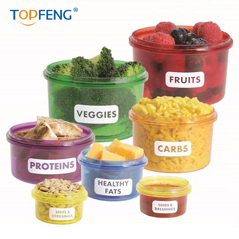 TopFeng Food Storage Container Easy Way to Lose Weight Perfect Portions Lunch Box, Weight Control Containers Storage Boxes 7pcs/ image