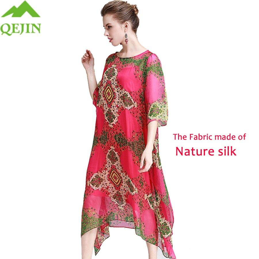 Mode De Doux Femmes sirène red Taille Blue Robe Trompette Style Nature Imprimé Robes Grande Lâche Soie D'été Femme wHPwnSq7