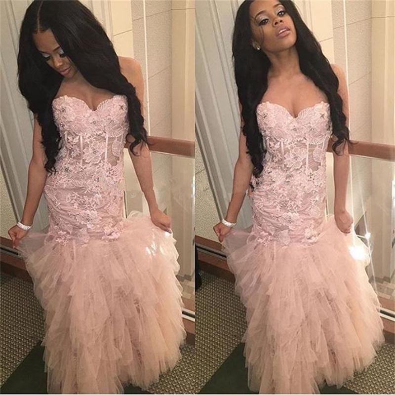 2017 Estilo Africano de Luz Sexy Pink Tulle de La Colmena de Vestidos de Baile V