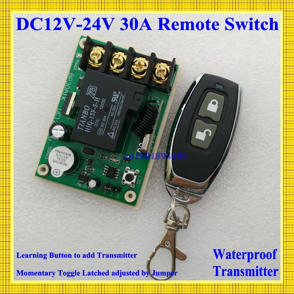 DC12V 30A Relay Receiver Remote Control Switch LED Lamp Light Remote ON OFF Switch DC14V 16V 24V 3000W Remote Controller 315/433 remote control switch led light lamp remote on off system ac85v ac260v 100v 110v 240v 230v 127v learning code receiver 315 433