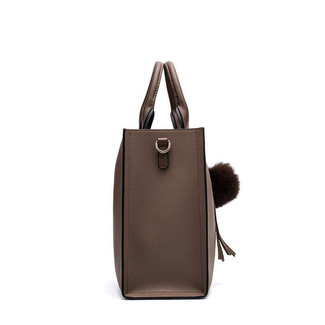 Miyaco Women Leather Handbags Casual Brown Tote bags Crossbody Bag TOP-handle bag With Tassel and fluffy ball 3
