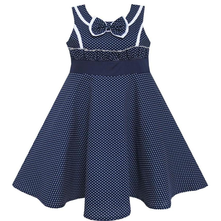 Sunny Fashion Girls Dress Bow Tie Heart Sleeveless Blue Cotton 2018 Summer Princess Wedding Party Dresses Girl Clothes Size 7-14 sunny fashion girls dress hi lo maxi chiffon lace polka dot necklace party 2018 summer princess wedding dresses size 7 14