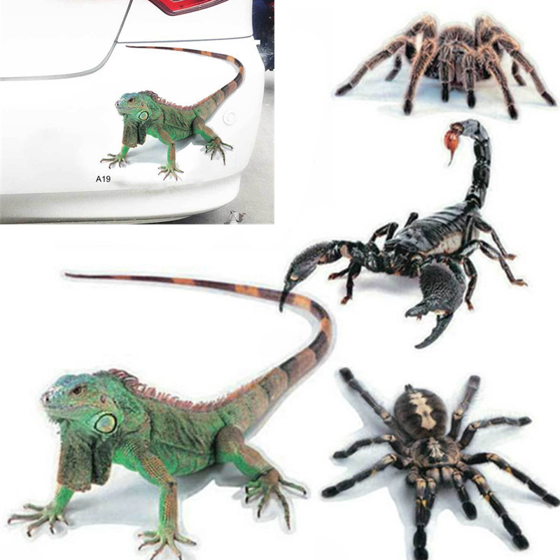 Car-styling 3D Car Sticker Animals Bumper Spider Gecko Scorpions for <font><b>Mercedes</b></font> Benz <font><b>A180</b></font> A200 A260 W203 W210 W211 AMG W204 C E S image