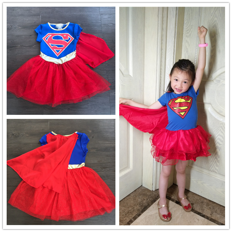 Girl Super Hero Girl Costume Children Wonder Woman Heroine Fancy Bubble Dress with cape Cosplay Party Girl Costume with robe