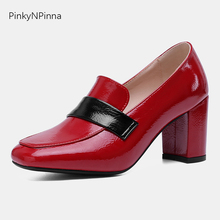 2019 office lady pumps female patent leather slip on high round heels square toe monks mixed colors British style shoes woman