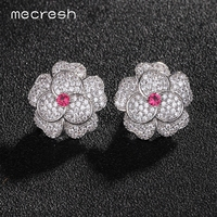 Green Red AAA CZ White Gold Plated Flower Stud Earrings For Women Wedding Accessories Jewelry EH549