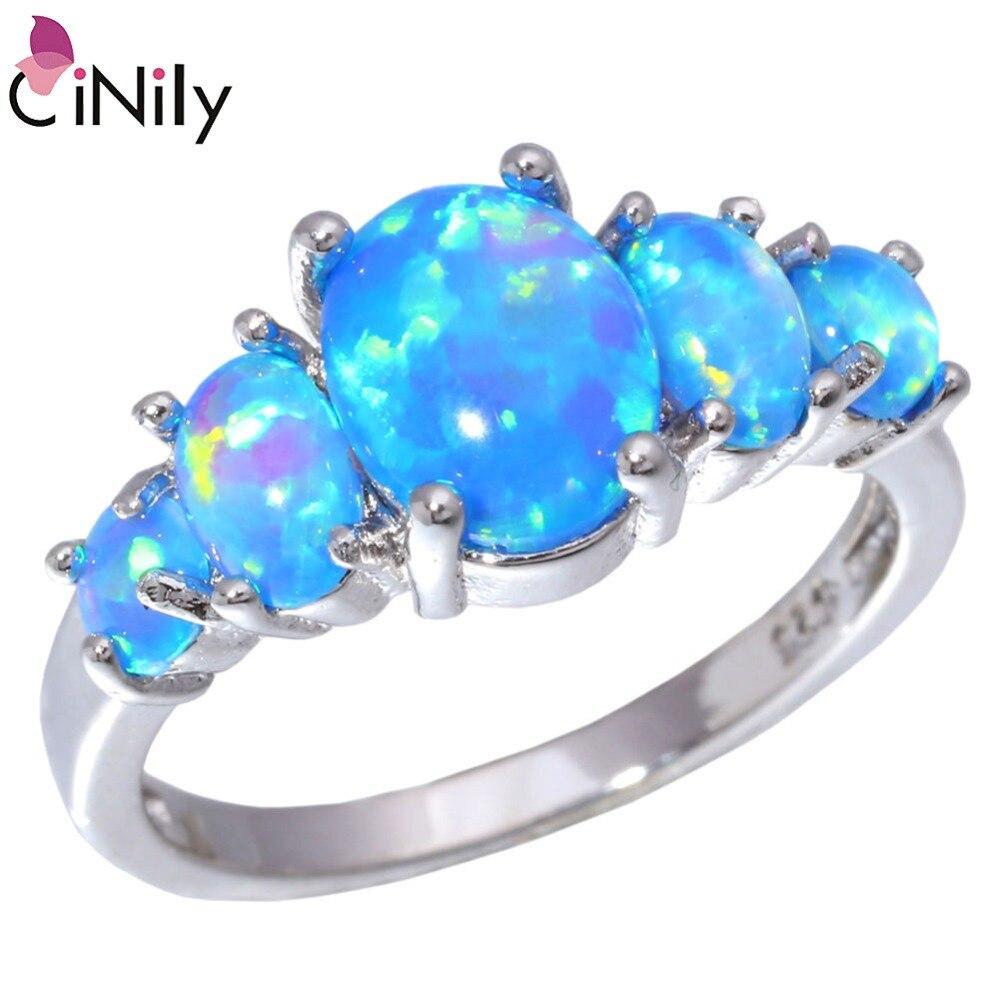 CiNily blanc & Orange & bleu opale de feu rempli d'anneaux avec pierre ronde argent plaqué luxe grand bohème Boho été bijoux femme