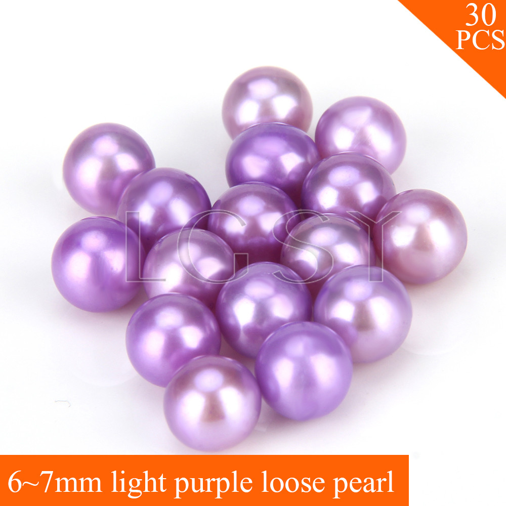 FREE SHIPPING, Beautiful 6-7mm AAA Light purple saltwater round akoya pearls 30pcs for fitting Jewelries cluci free shipping get 40 pearls from 20pcs 6 7mm aaa blue round akoya oysters twins pearls in one oysters