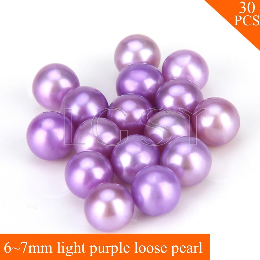 FREE SHIPPING, Beautiful 6-7mm AAA Light purple saltwater round akoya pearls 30pcs for fitting Jewelries цена