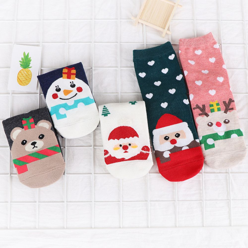 2019 New Design Christmas Santa Claus Socks Women Cotton Short Elk Winter Socks Cartoon Deer Snow Man Cute Socks New Year Gift