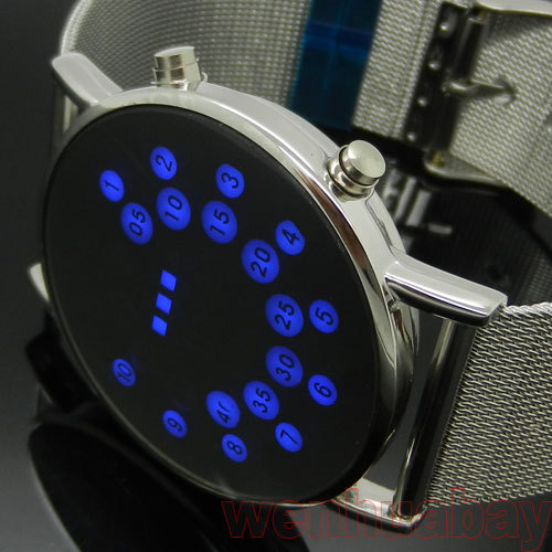 Fashion Blue LED Dot Light Watch Silver Metal Iron Mesh Band Round Dial Digital Mens Womens Lady Gift L8811 miracle moment fashion stylelish mens womens unique hollowed out triangular dial black fashion watch ag3