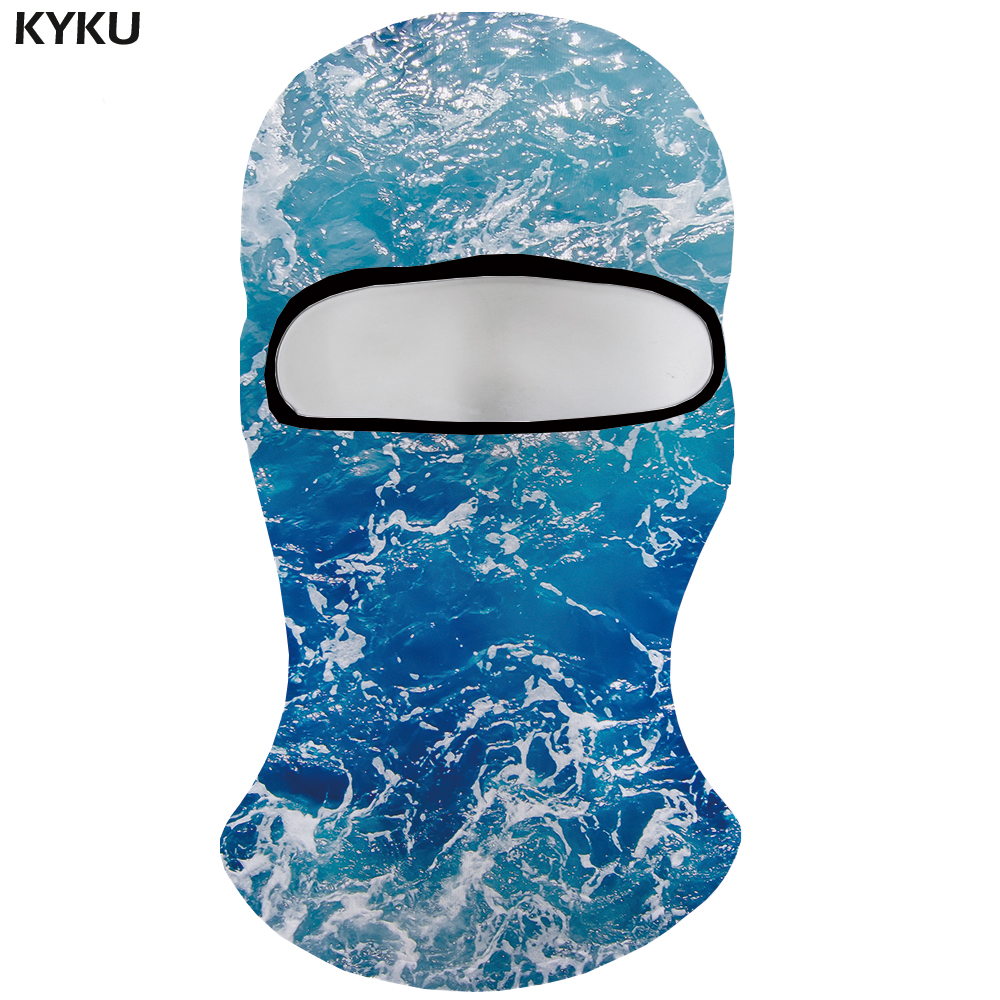 KYKU Brand Wave Skullies Beanies Men Water 3d Printed Beanie Blue Military Face Balaclava Casquette Bicycle Mask Mens Beanie