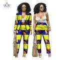 BRW Африканской Печати Двух Частей Набор Для Женщин Весной Dashiki брюки и Урожай Лучших Базен Riche Африканские Одежда для Леди WY019