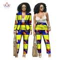 BRW Dashiki Africano de Impresión de Dos Piezas Para Las Mujeres de Primavera pantalón y Camisa corta Ropa Africana Bazin Riche para Dama WY019