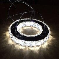 실버 크리스탈 링 LED 샹들리에 크리스탈 램프/조명/조명기구 현대 주도 원 빛 사용 천장 20 센치메터