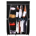 Homdox Portable Clothes Wardrobe Closet Storage Organizer Shoe Rack Shelves+ Cover Side Pocket space-saving DIY Wardrobe