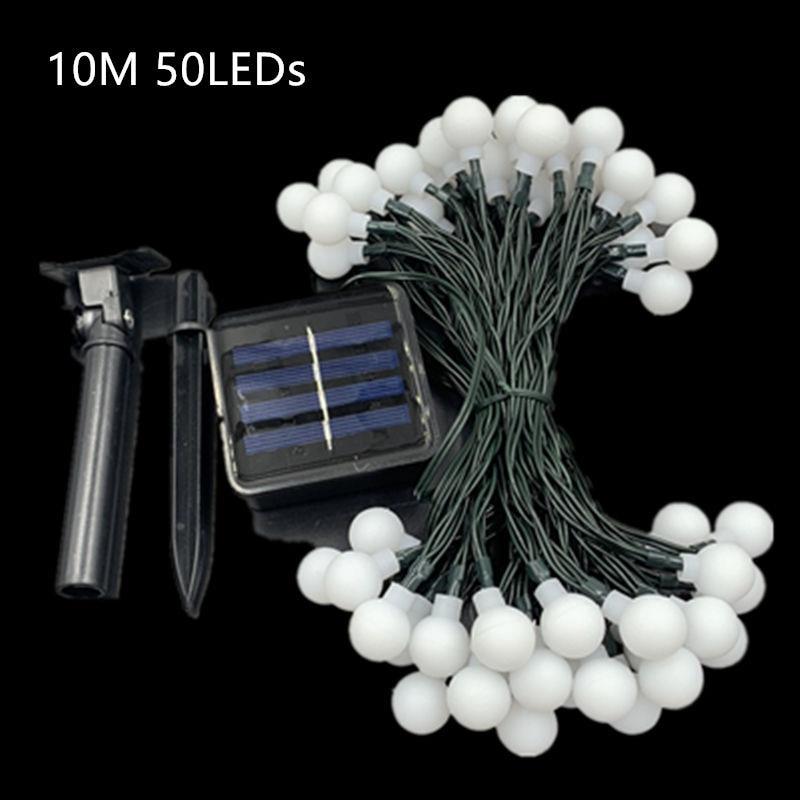 HTB1ypGjUhYaK1RjSZFnq6y80pXaK - White Ball Solar Lamp 10M Power LED String Fairy Lights Solar Garlands Garden Christmas Party Decor For Outdoor 50 LEDS Small